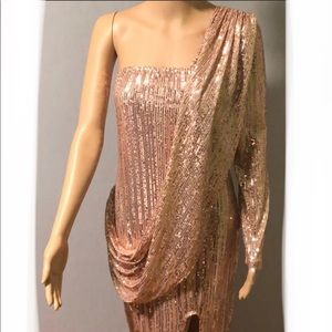 CBR Sequin Rose Gold One Arm Midi Dress With Slit